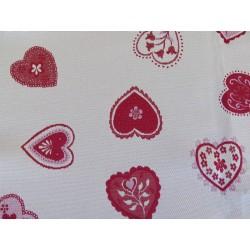 tissus au décimètre jacquard  isseran fond blanc motif rouge