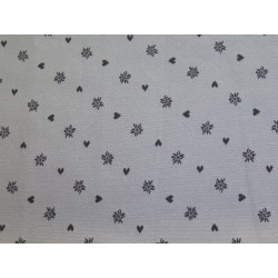 tissus au décimètre   noel fond gris motif blanc