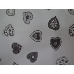 tissus au décimètre  madeleine fond blanc motif gris